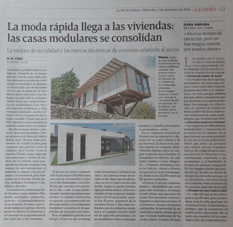 Articulo de La Voz de Galicia sobre casas modulares